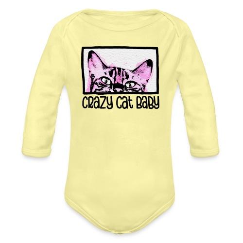 Crazy Cat Baby Girl - Baby Bio-Langarm-Body
