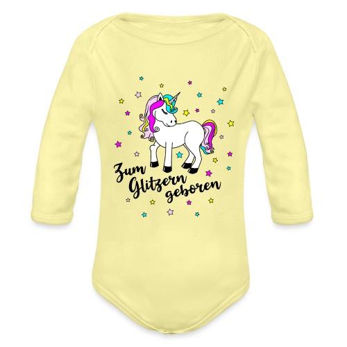 Zum Glitzern geboren Einhorn Baby Regenbogen - Baby Bio-Langarm-Body
