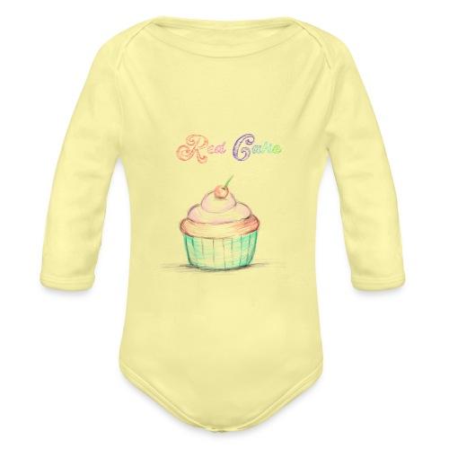red cake - Body orgánico de manga larga para bebé