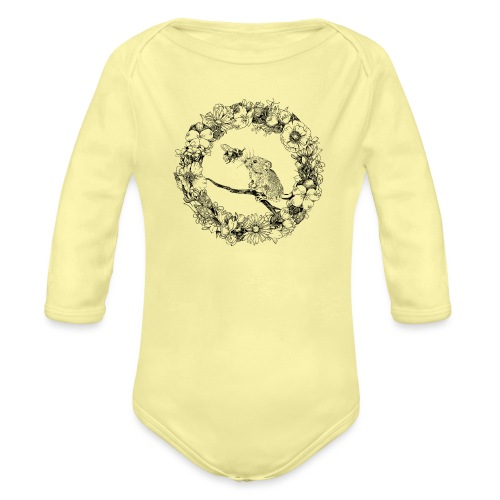 The mouse and the bumblebee - Organic Longsleeve Baby Bodysuit