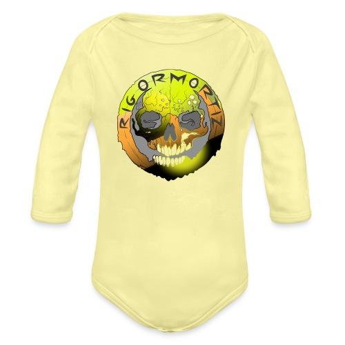Rigormortiz Metallic Yellow Orange Design - Organic Longsleeve Baby Bodysuit