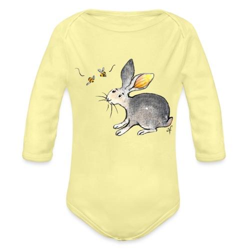 Der kleine Hase schaut sich um. - Baby Bio-Langarm-Body