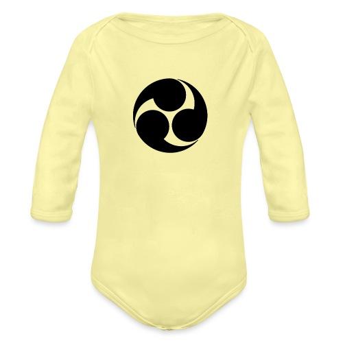Kobayakawa Mon Japanese clan black - Organic Longsleeve Baby Bodysuit