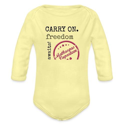 Kangaskassi Matkaopas Vapauteen - Vauvan pitkähihainen luomu-body