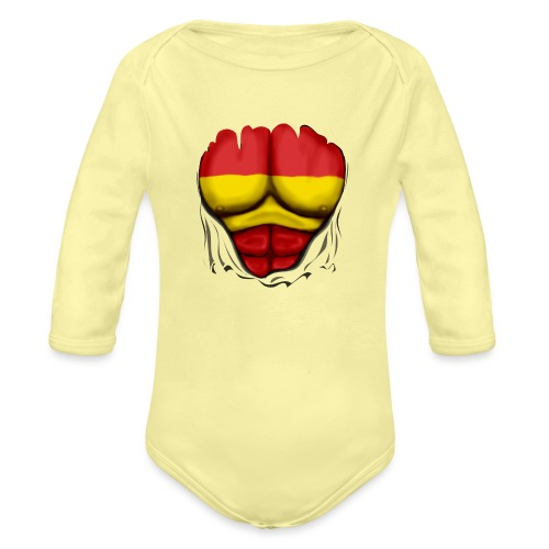 España Flag Ripped Muscles six pack chest t-shirt - Organic Longsleeve Baby Bodysuit