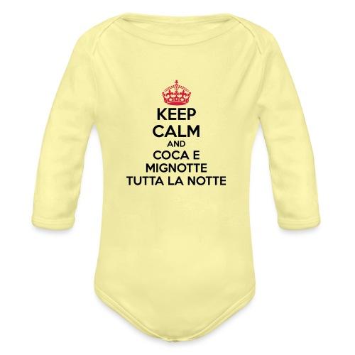 Coca e Mignotte Keep Calm - Body ecologico per neonato a manica lunga