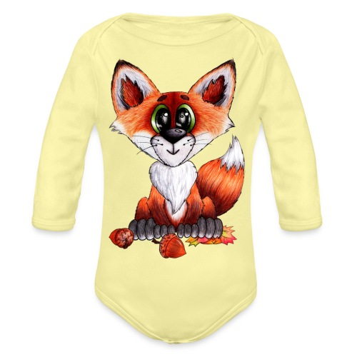 llwynogyn - a little red fox - Vauvan pitkähihainen luomu-body