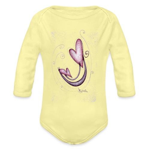 Cuori mamma e figlia - Body ecologico per neonato a manica lunga