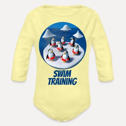 Pinguine beim Schwimmunterricht - Organic Longsleeve Baby Bodysuit