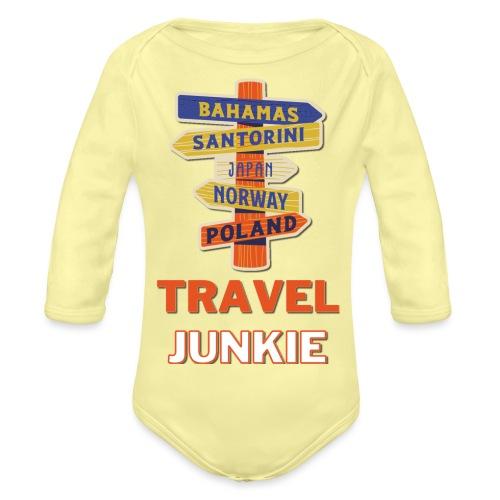 traveljunkie - i like to travel - Baby Bio-Langarm-Body