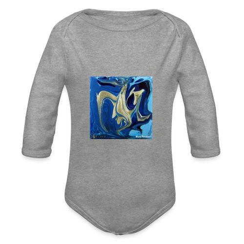 TIAN GREEN Welt Mosaik - AT042 Blue Passion - Baby Bio-Langarm-Body