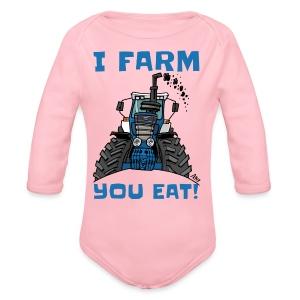 I farm you eat blauw - Baby bio-rompertje met lange mouwen