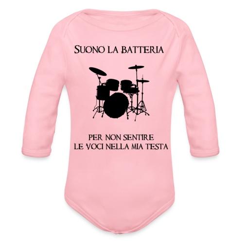 Batterista - Body ecologico per neonato a manica lunga
