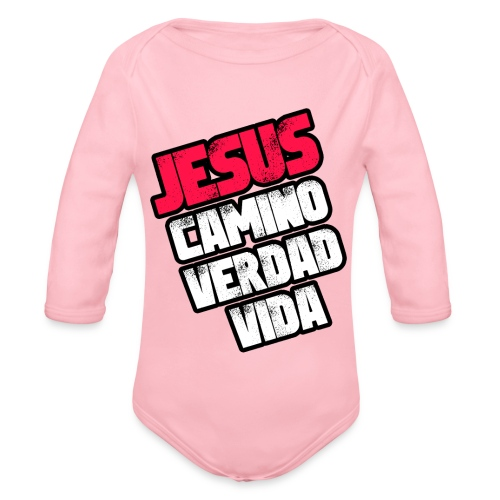 Jesus Camino Verdad Vida - Juan 14:6 - Rojo - Body orgánico de manga larga para bebé