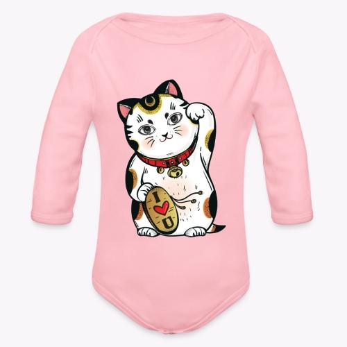 Love Lucky Cat - Organic Longsleeve Baby Bodysuit