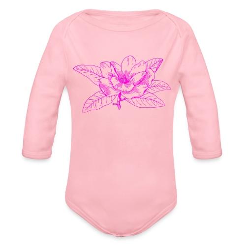 Camisetas y accesorios de flor color rosada - Body orgánico de manga larga para bebé