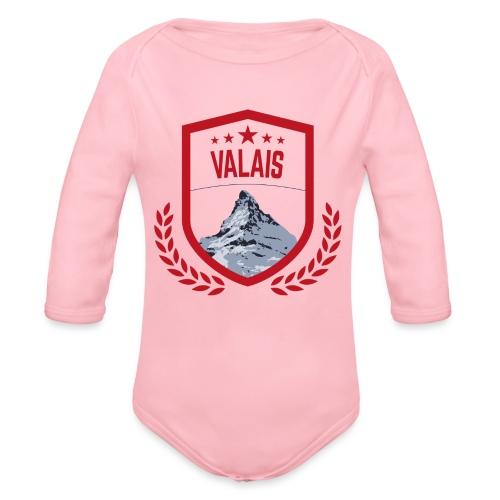 Walliser Logo mit dem Matterhorn - Baby Bio-Langarm-Body