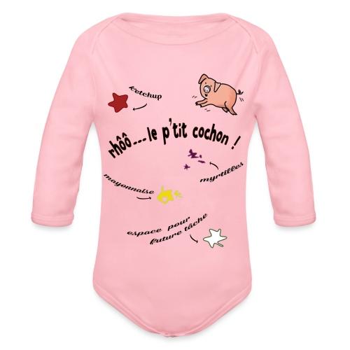 Rhoo le ptit cochon ! (version pour fond blanc) - Body Bébé bio manches longues