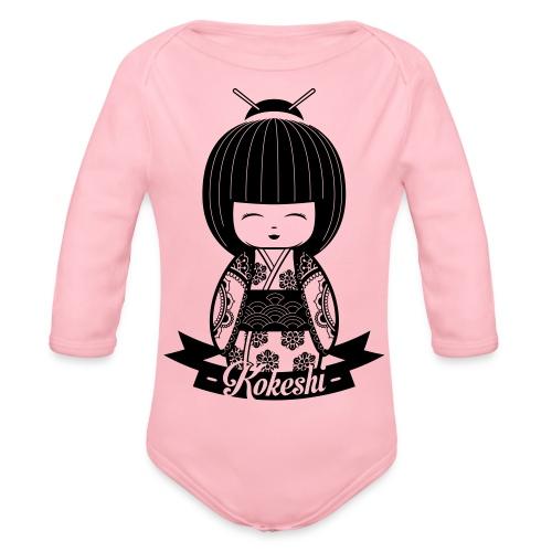 Kokeshi Black - Baby Bio-Langarm-Body