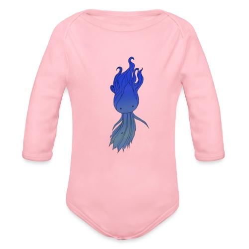 Blue Nymph - Langærmet babybody, økologisk bomuld
