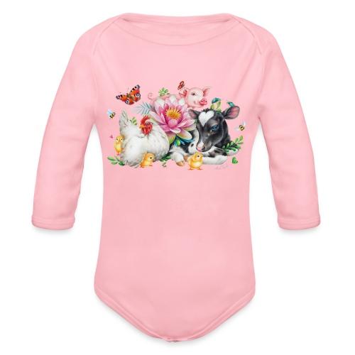 animals summer - Organic Longsleeve Baby Bodysuit