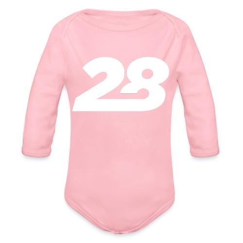 28 White - Organic Longsleeve Baby Bodysuit