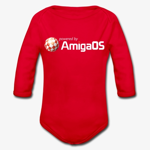 PoweredByAmigaOS white - Organic Longsleeve Baby Bodysuit