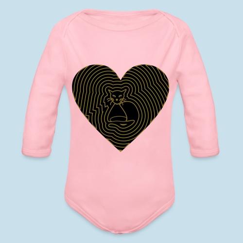 Katzen Herz Spirale 2 Färbig - Baby Bio-Langarm-Body