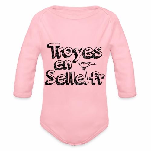 logo Troyes en Selle noir - Body Bébé bio manches longues