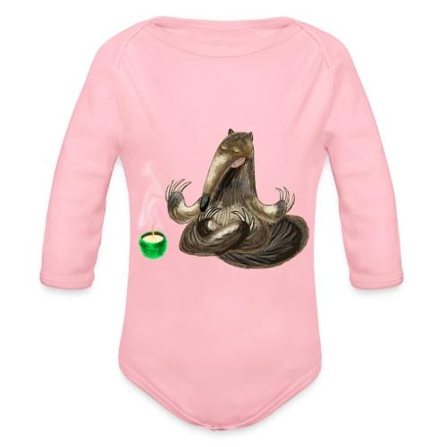 Meditating Ant eater design / print - Organic Longsleeve Baby Bodysuit