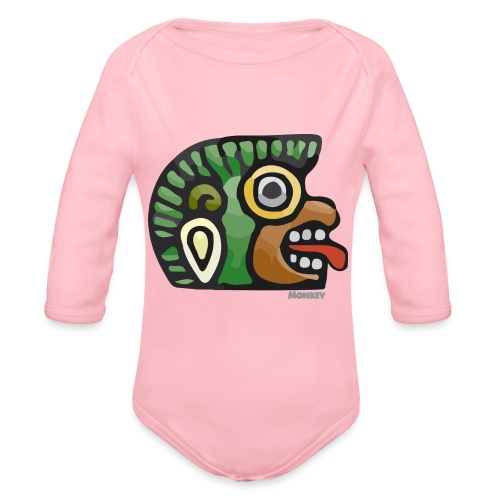 Aztec Icon Monkey - Organic Longsleeve Baby Bodysuit