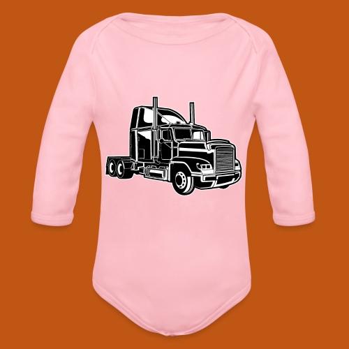 Truck / Lkw 02_schwarz weiß - Baby Bio-Langarm-Body