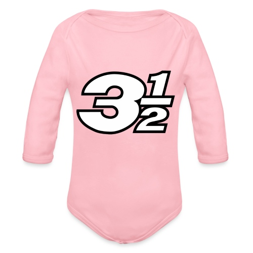 Three and a Half Logo - Organic Longsleeve Baby Bodysuit