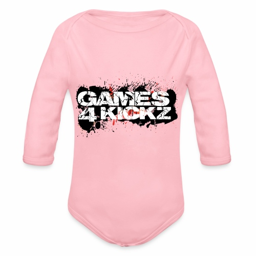 Games4Kickz Logo Splattered Background - Organic Longsleeve Baby Bodysuit