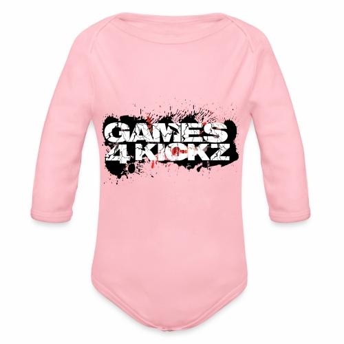 Games4Kickz Logo Splattered Background - Organic Longsleeve Baby Bodysuit