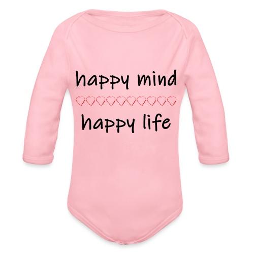 happy mind - happy life - Baby Bio-Langarm-Body