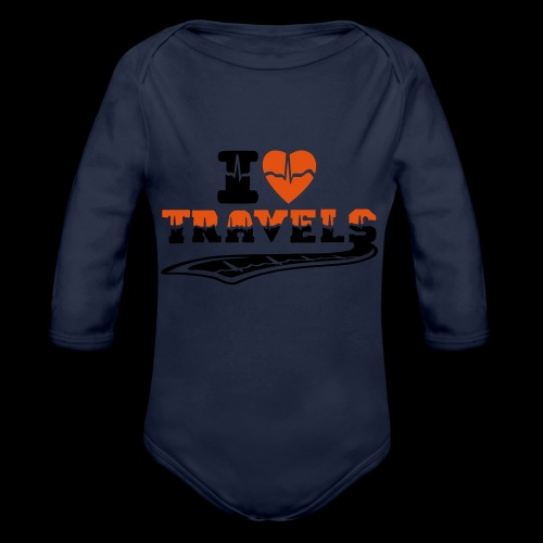 i love travels surprises 2 col - Organic Longsleeve Baby Bodysuit