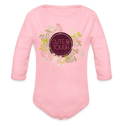Cute and tough - wine red - Organic Longsleeve Baby Bodysuit