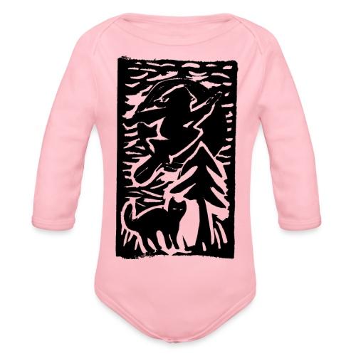 Hexe mit Katze - Baby Bio-Langarm-Body