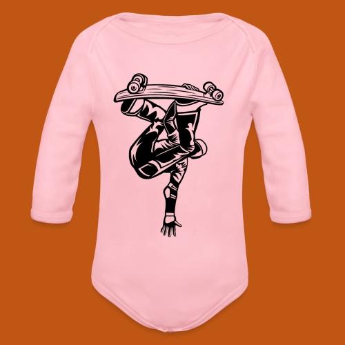 Skater / Skateboarder 03_schwarz - Baby Bio-Langarm-Body