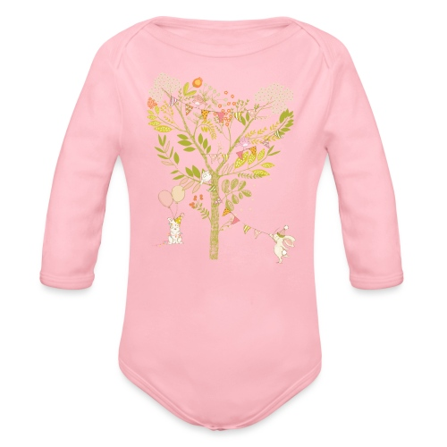 rabbit Party - Organic Longsleeve Baby Bodysuit