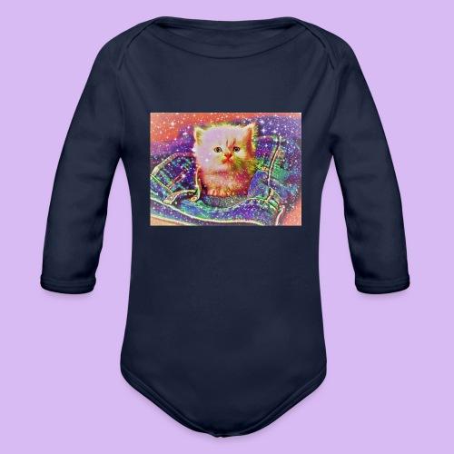 Gattino scintillante nella tasca dei jeans - Body ecologico per neonato a manica lunga
