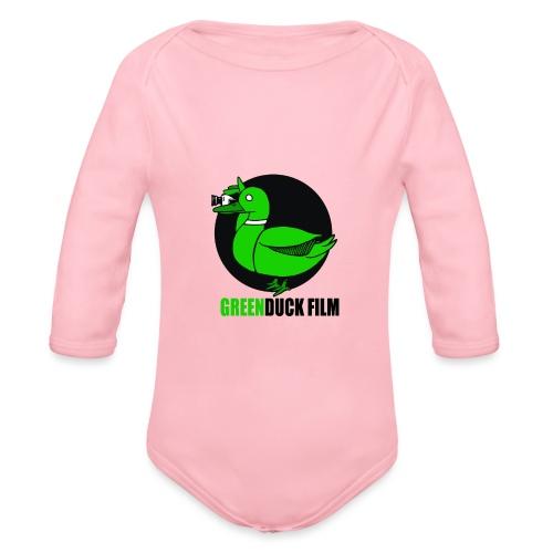 Greenduck Film Logo w. black letters - Langærmet babybody, økologisk bomuld