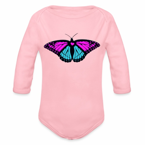girly girl beautiful butterfly - Organic Longsleeve Baby Bodysuit