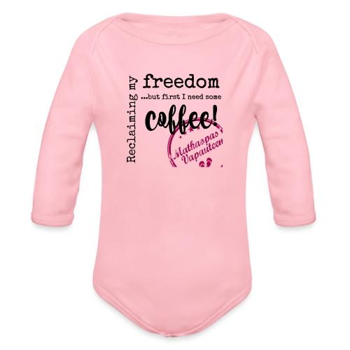 Kahvimuki Matkaopas Vapauteen, pun - Vauvan pitkähihainen luomu-body