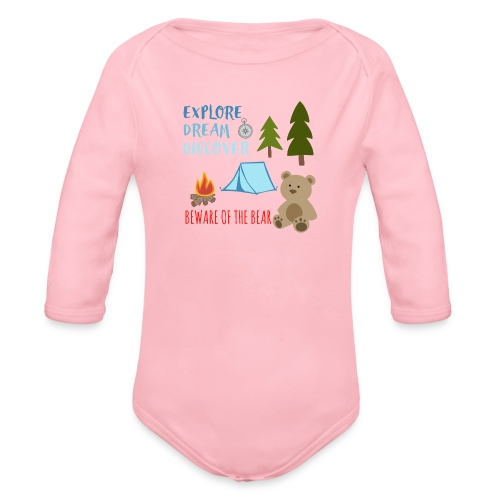 Beware Of The Bear - Organic Longsleeve Baby Bodysuit
