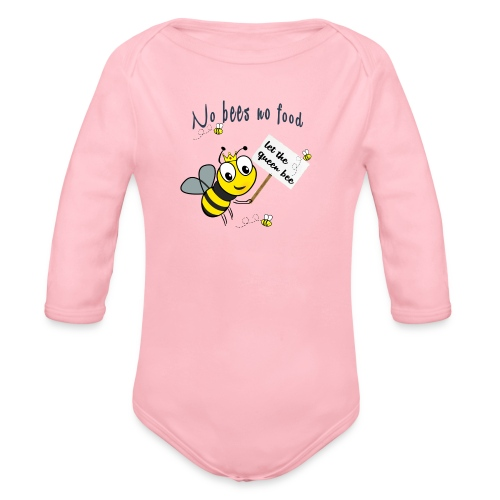 Save the bees with this cute design! Red de bij - Baby bio-rompertje met lange mouwen
