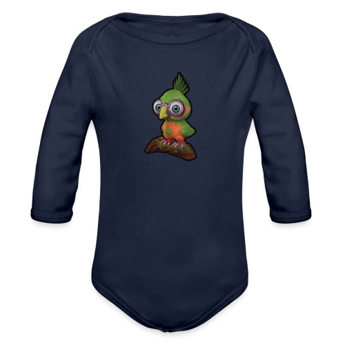 A bird sitting on a branch - Organic Longsleeve Baby Bodysuit