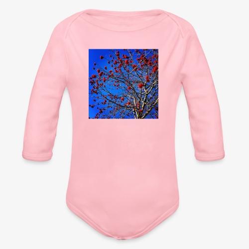 Red Flowers and Blue Sky - Body ecologico per neonato a manica lunga