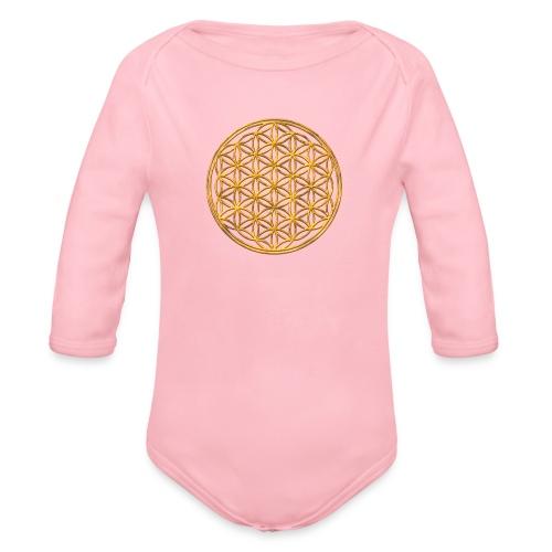 Flower of life GOLD 2 - Baby bio-rompertje met lange mouwen